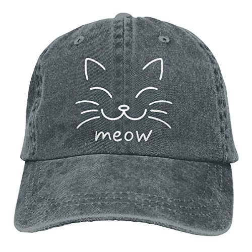AOHOT Classic Hombre Mujer Gorras de béisbol,Meow Cat Face-1 Unisex Personalize Jeans Sun Hat Adjustable Baseball Cap