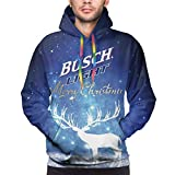 SHOEWPQIA Men's 3D Busch Light Letter Printer Xmas Gift Polyester Hooded Hoodie Casual Thin Sweatshirts XXL