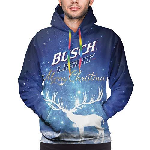 SHOEWPQIA Men's 3D Busch Light Letter Printer Xmas Gift Polyester Hooded Hoodie Casual Thin Sweatshirts XL