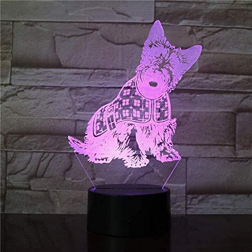 Dibujos animados perro 3D noche luz visión LED lámpara de mesa USB 16 toque colorido bebé dormitorio Ation noche luz niños juguete kres regalo cumpleaños