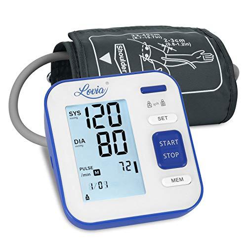Tensiómetro de Brazo, Lovia Monitor de la presión Arterial, Tensiómetro de Brazo Digital LCD, Brazalete grande de 22-42 cm,Detección de Frecuencia Cardíaca Irregular 2 memorias de usuario (2 * 120)
