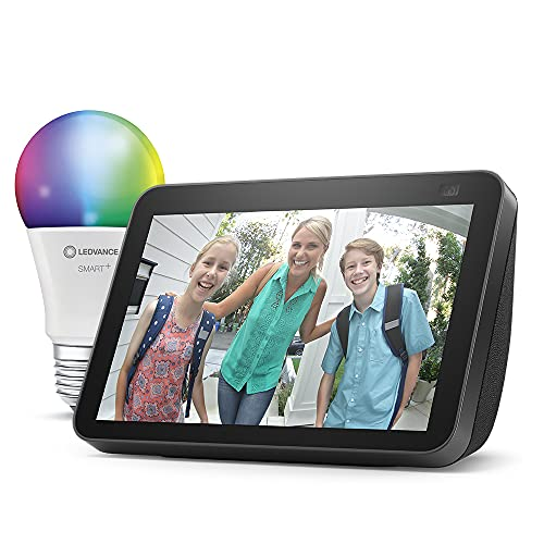 Nuevo Echo Show 8 (2.ª generación, modelo de 2021), Antracita + Ledvance Bombilla Inteligente (E27), compatible con Alexa