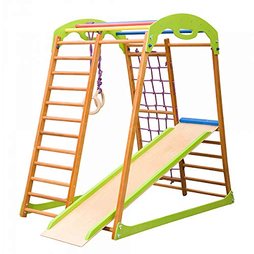 Indoor Wooden Playground for Kids SportWood Indoor Gym Sets Up Climbing Ladder Swing Slide and Rings...