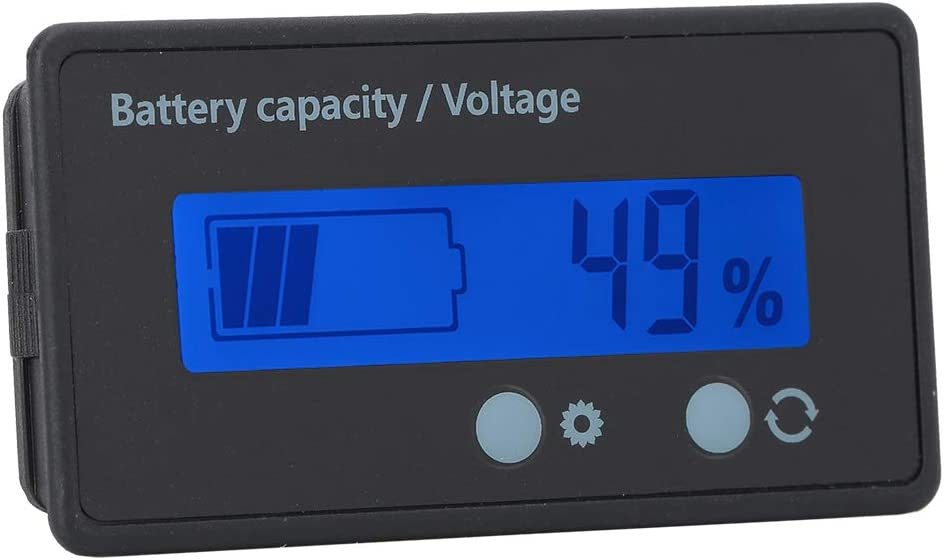 Nicoone Battery Capacity Display Waterproof Battery Capacity Monitor with Large Indicator LCD Display Voltage Meter Tester 12-84V