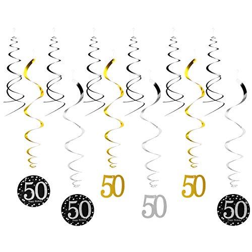 LUOEM Décoration Anniversaire 50 Ans Happy Birthday Décorations à Suspendre 12 Pièces