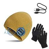 TAGVO Bonnet Bluetooth V5.0 avec Gants tactiles, Hiver Chaud tricoté sans Fil...