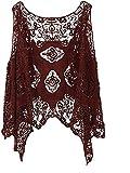 Moceal Cárdigan para mujer con punto abierto, estilo bohemio, hippie, de ganchillo, sin mangas, blusa Color morado. Tallaúnica