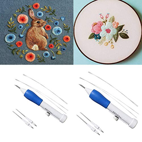 Vertily Embroidery Stamp,Embroidery Pen Embroidery Needle Weaving Tool Fancy,Embroidery Kit Flower Fairy DIY Wall Decor Stamp Silk Ribbon Embroidery Kit