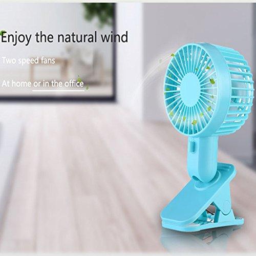 Outdoor Handheld Fan Clip 120 Degree Twist Double Blades Portable,MeiLiio Mini 2 Speed Adjustable Noiseless Summer Air Cooling Fan Rechargeable Battery USB Charging Fan for Kids Bedroom Office (Blue)
