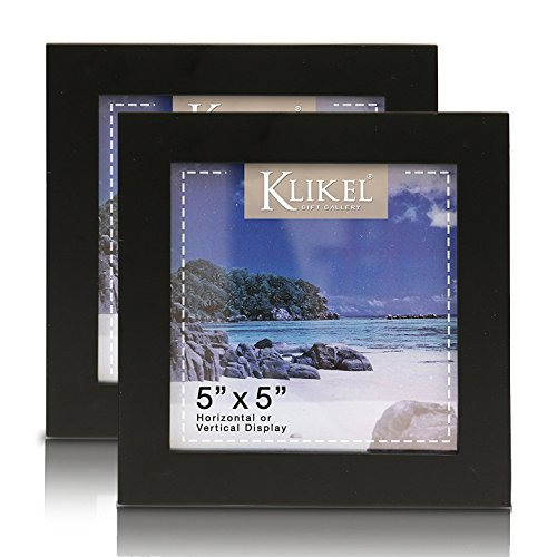 Klikel 5 X 5 Black Picture Frame - Set of 2 5x5 Black Wooden Photo Frame - Made of Real Wood With Glass Photo Protection - Wall Hanging And Table Standing Display