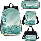 Wave Ensemble sac à dos d'école et sac à déjeuner 17 cm Illustration marine vieux papier 4 en 1