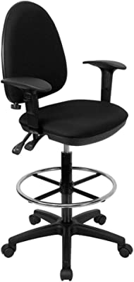 Flash Furniture Mid-Back Black Fabric Multifunction Ergonomic Drafting Chair with Adjustable Lumbar Support and Adjustable Arms