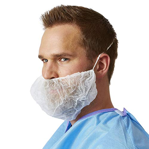 100 Pack of Disposable Beard Covers 21' White Beard Guards Premium Quality Beard Protectors Heavy Duty Beard Caps Facial Hair Covering Single Loop Breathable Lightweight