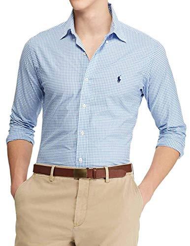 Polo Ralph Lauren Long Sleeve Sport Shirt Camicia Uomo Slim Fit MOD: SL BD PPC SP-710705269 (L, Blue)