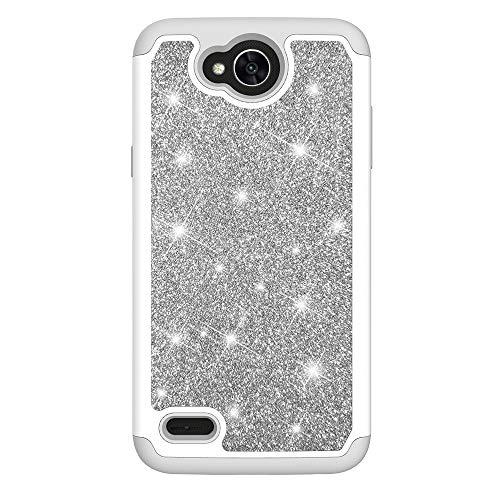 MAOOY Handyhülle LG X Power2, LG K10 Power Hülle Hartschale, Hybrid 2in1 Glänzend Shiny Hard Plastic Abdeckung mit Entfernbar Soft Gummi innerer Stoßkasten Kratzfest Geschützt für LG X Power2, Silber
