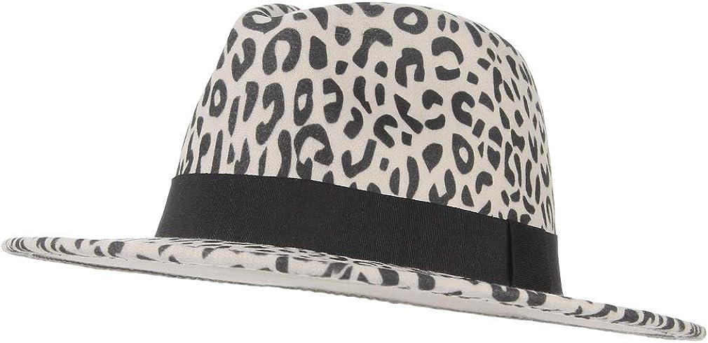 GEMVIE Women's Wide Brim Fedora Wool Hat Leopard Print Wool Panama Jazz Hat with Band