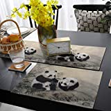 13'' x 70'' Table Runner with Placemats Set of 6 Chinese Style Ink Painting Cute Fluffy Panda with Bamboo and Stone Non-Slip Washable Table Mats Table Runner Set for Dining Table Home Decor