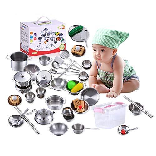 roosteruk Unbekannt Per Complete Kids Kochen und Backen Set Pretend Play Tool Edelstahl Küchenutensilien Spielzeug mit Aufbewahrungsbox für Kleinkind für 3-jährige Mädchen und bis