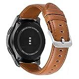 MroTech Lederamrband Gear S3 Armband echtes Leder 22mm Ersatzarmband kompatibel für Samsung Gear S3 Frontier/Classic,Galaxy Watch 46mm, Pebble Time, Huawei Watch 2 Classic Uhrenarmbänder...