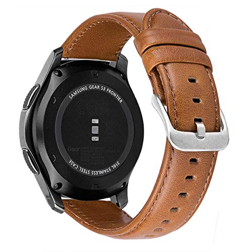 MroTech Lederamrband Gear S3 Armband echtes Leder 22mm Ersatzarmband kompatibel für Samsung Gear S3 Frontier/Classic,Galaxy Watch 46mm, Pebble Time, Huawei Watch 2 Classic Uhrenarmbänder (Braun, L)