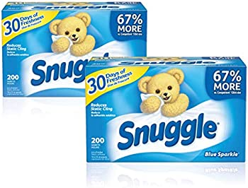 400-Count Snuggle Fabric Softener Dryer Sheets, Blue Sparkle, 2 Boxes