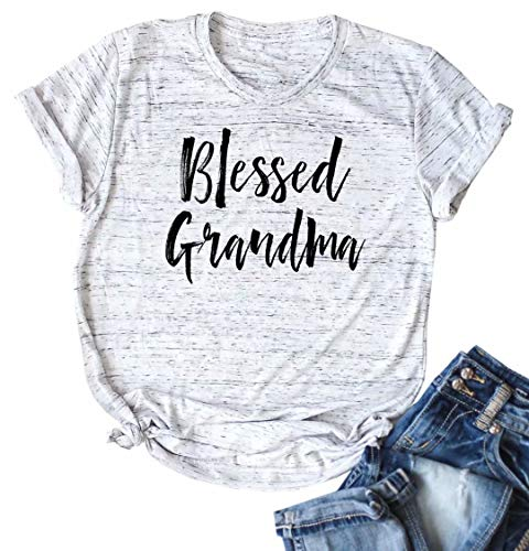 Blessed Grandma T Shirt Grandmother Mother Gifts Top Women Graphic Print Short Sleeve Shirt Top Size M (White)