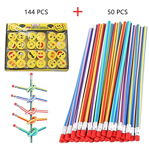 Aliyaduo Flexible Pencil Bendy Pencils 50 PCS 7' Colorful Stripe Soft Magic Pencils and 144 Emoji Erasers, the Best Gift for Students or Children