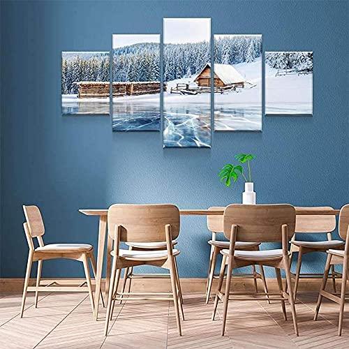 GSDFSD Tabla decoración Paisaje de Cabina del Lago Ice - 200 x 100 cm Impresión Pinturas Murales Decor Dibujo con Marco Fotografía para Oficina Aniversario