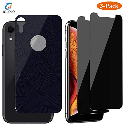 JOLOJO iPhone XR Privacy Screen Protector Tempered Glass 2 Pack [Anti-Spy][Anti-Peep] + Back Glass [Front and Back] Full Body Protection [Case Friendly][Anti-Scratch] for iPhone XR 6.1 inch