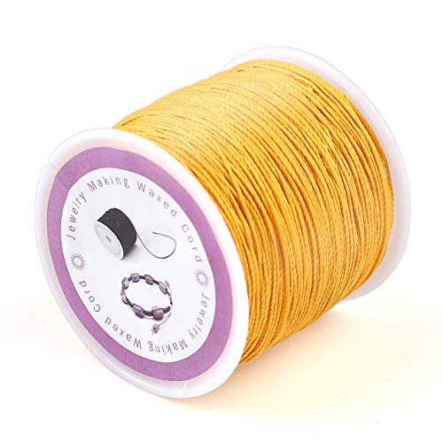 116Yards 0.5mm Leather Sewing Waxed Polyester Cord Thread Bracelet String Leather Cord Cotton String Beading Thread Waxed Twine Elastic Thread Cord for Necklace Bracelet Jewelry Craft Making(Yellow)