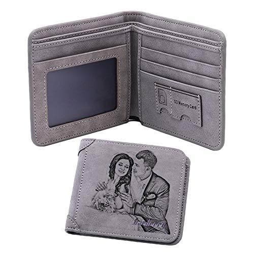 Personalisierte Foto-Brieftasche Bi-Fold-Brieftasche Große Geldbörse Herren-Brieftasche Leder-Brieftasche(Grau Einseitig)
