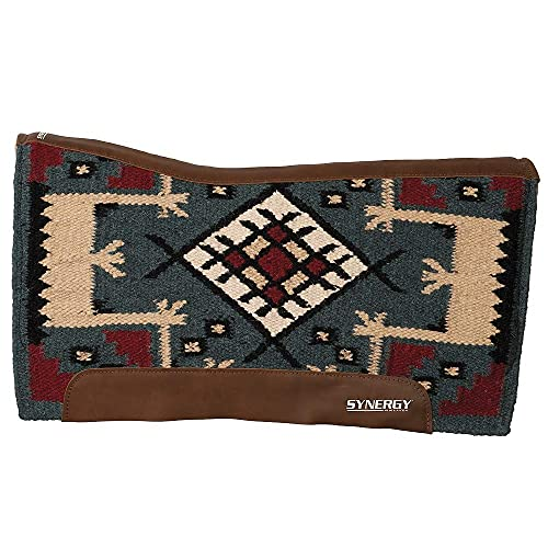 Weaver Leather 35-9337-W48 Synergy Contoured Performance Saddle Pad, Yuma - Indigo Blue/Dark Red,...