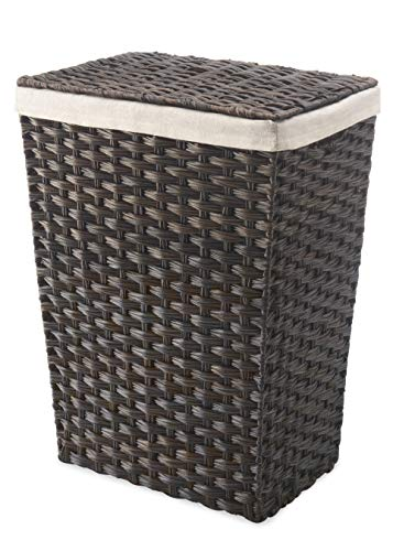 Whitmor Rattique Laundry Hamper with Lid and Removable Liner - Espresso