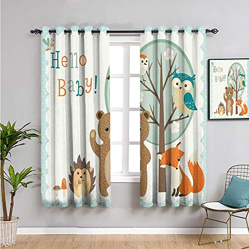 kids Home Decor Sliding Door Curtains, Curtains 84 inch length hello baby arrival funny hedgehog bee owls birds on tree bear fox animals themed party home decor Protective furniture W108 x L84 Inch