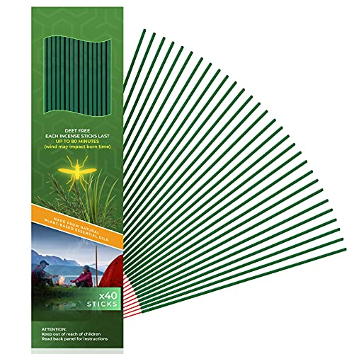 Mosquito Incense Repellent Sticks   DEET Free with Plant Based Essential Oils   75 minutes Protection for an Area within a 12ft Radius   Enjoying Outside Backyard Relaxing Time  40 Sticks per Tube