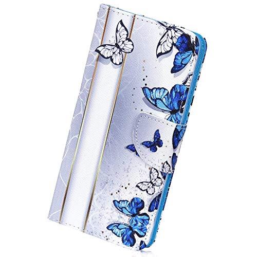 Herbests Kompatibel mit Samsung Galaxy S10 5G Handyhülle Handytasche Bunt Retro Muster Brieftasche Leder Hülle Leder Tasche Flip Case Cover Klapphülle Wallet Schutzhülle,Blau Schmetterling