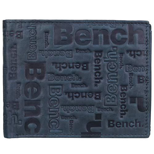 Bench RFID Herren Leder Geldbörse Portemonnaie Portmonee Geldbeutel Scheintasche 92021, Farbe:Dunkelblau