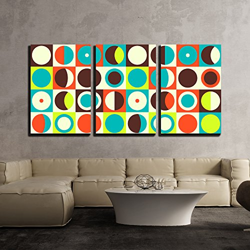 wall26 - 3 Piece Canvas Wall Art - Vector - Geometric Abstract Seamless Pattern. Retro 60s Style and Colors - Modern Home Art Stretched and Framed Ready to Hang - 16'x24'x3 Panels