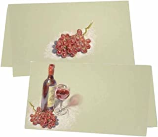 Wine and Grapes Place Cards - Tent Style - Placement Table Name Seating Stationery Party Supplies for any Occasion or Event - Dinner Food Display or Product Tag Label Set