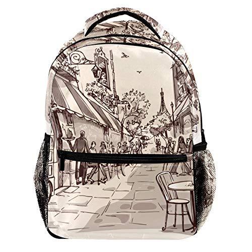 TIZORAX Coffee Street in The City Backpack School College Bag Bookbag Hiking Travel Rucksack for Women Men
