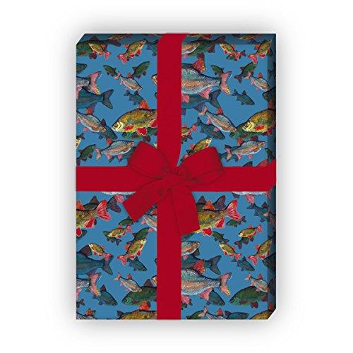 Edles Geschenkpapier Set (4 Bogen) | Dekorpapier mit Fischen unter Wasser für tolle Geschenk Verpackung zur Taufe, Geburt, Ostern, Geburtstag, Hochzeit, Weihnachten u.v.m. 32 x 48cm, auf blau