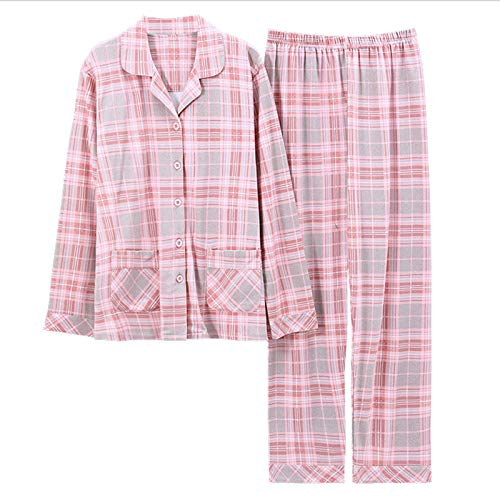YHSW Pijamas para Mujer,Conjunto de Pijamas a Cuadros de algodón,Ropa para el hogar de Manga Larga para Mujer,Todo otoño e Invierno,Sueltos Finos (M-XXXL)