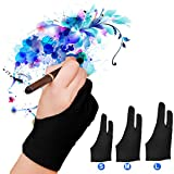 Capaboo Artist Glove Pack of 2 - Drawing Glove Graphic Drawing Tablet 2-Fingers Glove Artist Gloves for Light Box/Graphic Tablet/Pen Display/iPad Pro Pencil (L) …