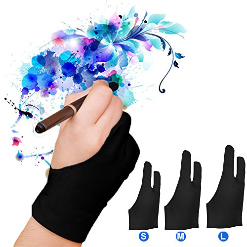 Artist Glove Pack of 2 - Drawing Glove Graphic Drawing Tablet 2-Fingers Glove Artist Gloves for Light Box/Graphic Tablet/Pen Display/iPad Pro Pencil (S) …