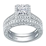 Newshe Engagement Wedding Ring Set for Women 925 Sterling Silver 1.5ct Princess White