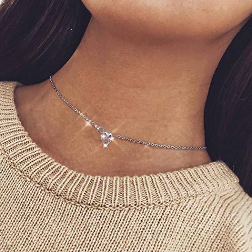 Yienate Halskette für Damen, Teenager, modisch, schlicht, Herzform, Katze, Fußabdruck, 8 Zeichen Schlüsselbeinkette, Anhänger für Mädchen (Silber)