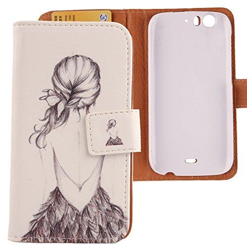 Lankashi PU Flip Leder Tasche Hülle Hülle Cover Schutz Handy Etui Skin Für WIKO Darkfull Back Girl Design