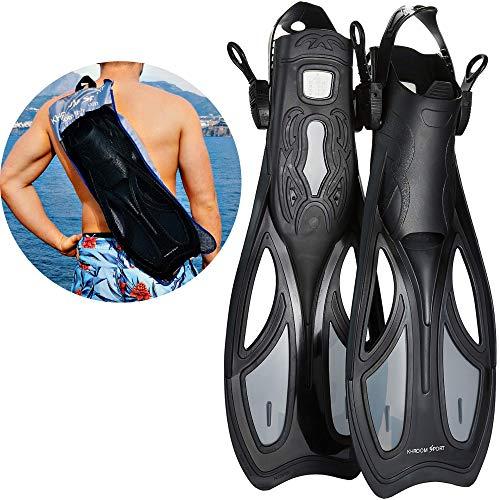 Khroom Flossen mit Verstellbarer Ferse für Erwachsene und Flossentasche zum umhängen | Unisex für Damen und Herren (39-43)