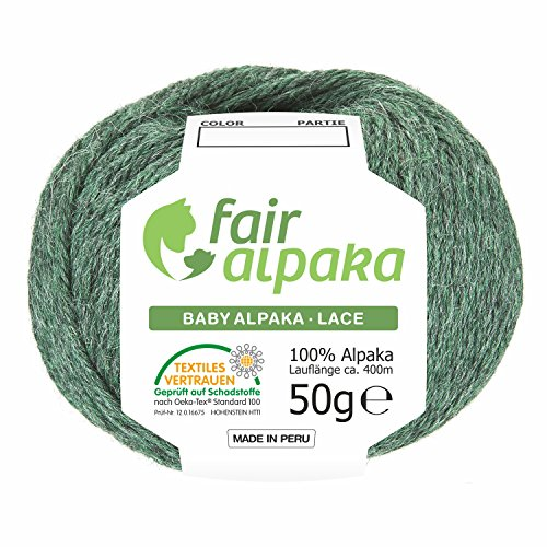 100% Baby Alpakawolle in 50+ Farben (kratzfrei) - 200g Set (4 x 50g) - weiche Alpaka Wolle zum Stricken & Häkeln in 6 Garnstärken by Hansa-Farm - Smaragd Heather (Grün)
