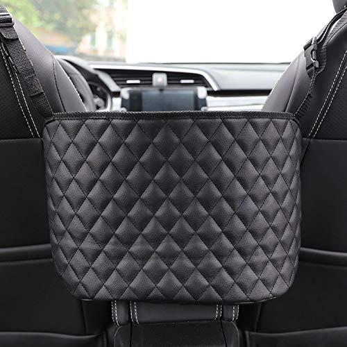 Neihan Bolsa de almacenamiento para asiento de coche, red de bolsillo para coche, bolsa de almacenamiento de nailon grueso para colgar (negro)